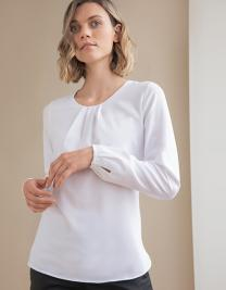 Ladies Pleat Front Long Sleeved Blouse